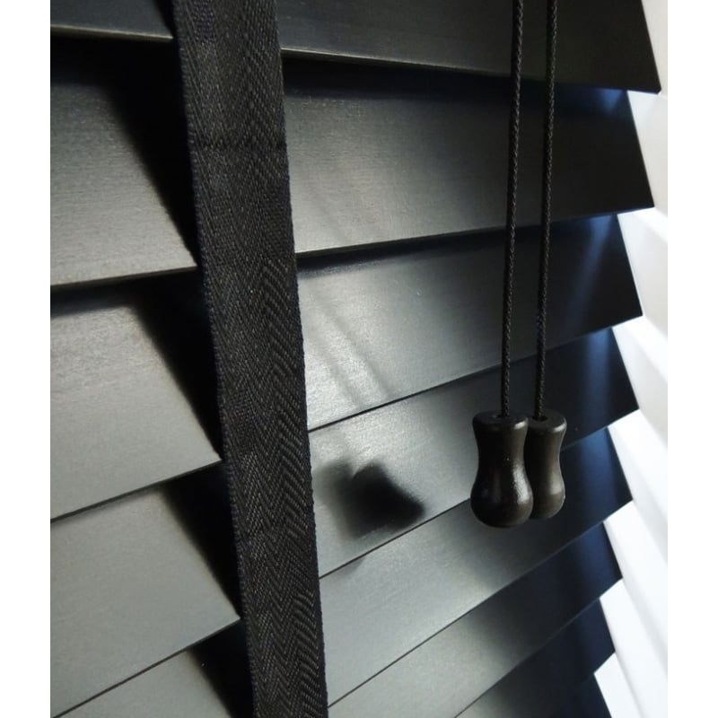 black wood venetian blind 50mm slats with tapes